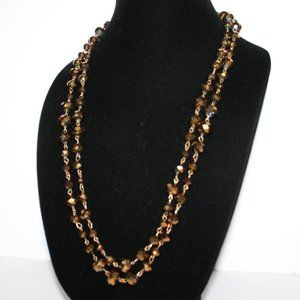 Beautiful gold beaded necklace LONG